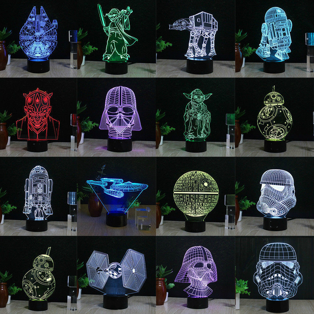 Beautiful 3D Lamp Decor LED Lego Star Wars 3D Light Millennium Falcon Lighting  Colorful Gradient Atmosphere Table