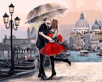 Framed Romantic Kiss Lover DIY Painting By Numbers Landscape Acrylic Picture Wall Art Hand Painted Oil