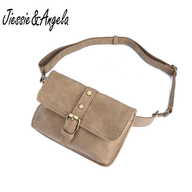 Jiessie & Angela Vintage Style Women Leather Belt Bag Brand Designer Women Waist Bag Fanny Packs Lady Pouch Belt Waist Pack