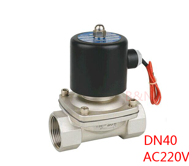 new 2W400 40B 1 1 2 AC220V stainless steel 304 Electric solenoid valve DN40 ss304 magnetic