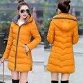 2017 Плюс размер 6XL жира ММ зима ватник 200 фунтов хлопок куртка стройная длинный сплошной цвет куртка С Капюшоном женский верхней одежды MZ778