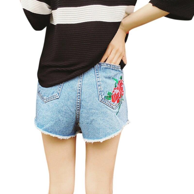 2017 Мода Вышивка Розы Шорты Женские Летние Высокой Талии Шорты Джинсовые Тонкий Pantalones Cortos Mujer Короткие Femme
