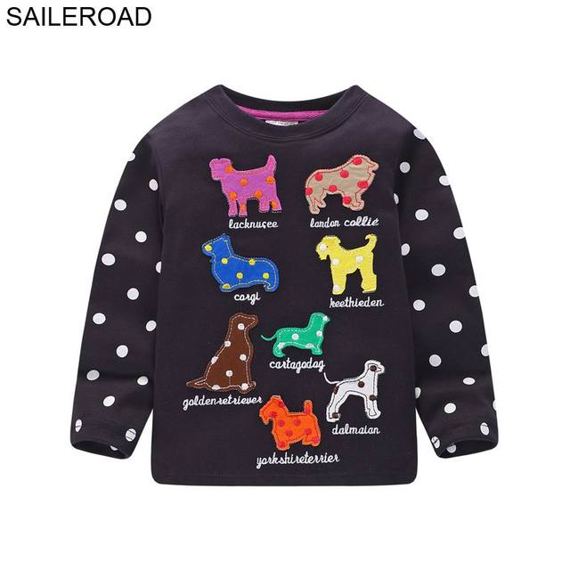 8af3cb91f SAILEROAD Cartoon Embroidery Baby Tshirt for Girls Tops and Tess T Shirts  Fall Girls Long Sleeve
