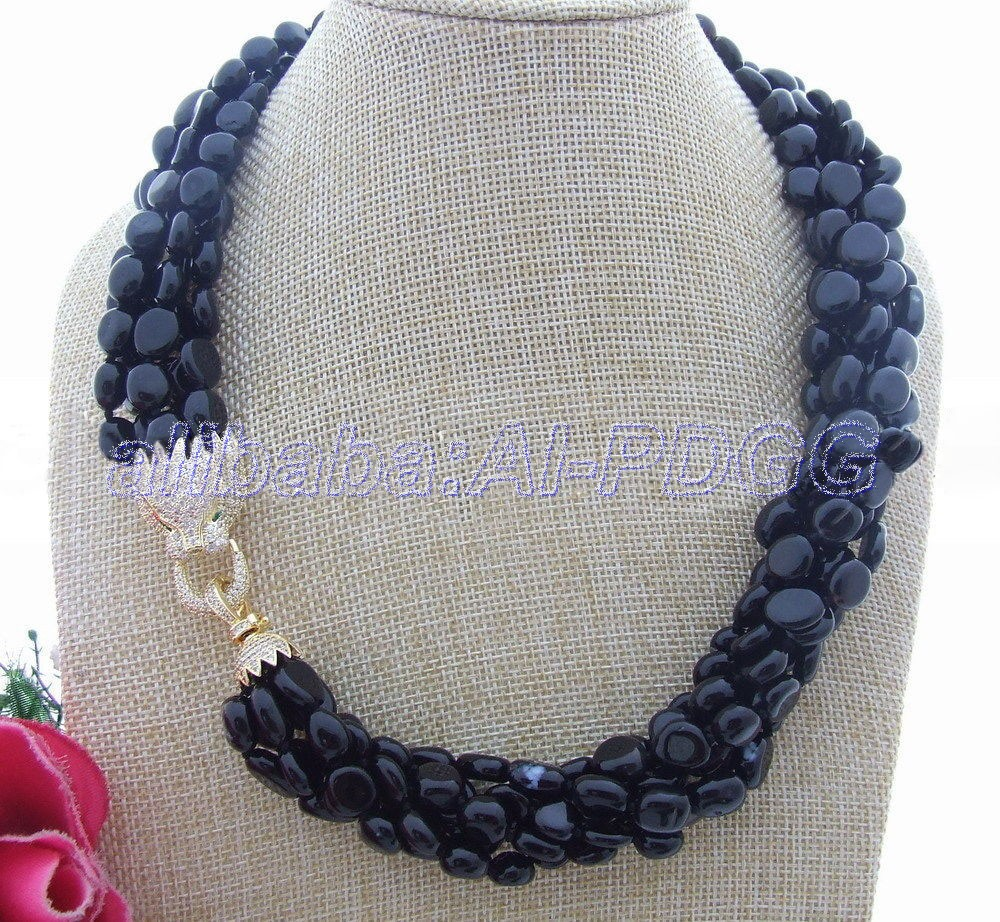 6Strds Natural 10mm Onyx Necklace6Strds Natural 10mm Onyx Necklace