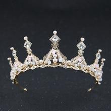 Vintage Baroque Gold Hair Accessories For Women Pearl Crystal Queen Crown Tiara Handmade Bridal Diadem Wedding Hair Jewelry