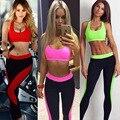 2016 nova moda de alta qualidade mulheres de fitness ocasional doce cor cropped tops tanques e calças duas peças define ternos