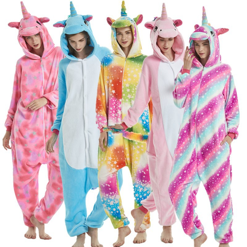 Kigurumi Unicorn   Pajama     Sets   Cartoon Sleepwear Adult Unisex Women Pijama Onesie Hooded Winter Flannel Animal Stitch Panda Pyjama