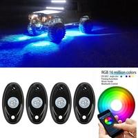 4pcs Set Pod RGB Car LED Rock Lights Wireless Bluetooth Music Flashing Multi Color Off Road