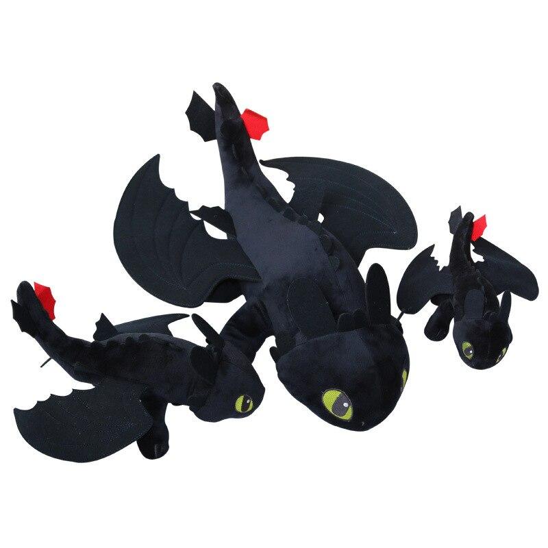 3pices 1set Dragon Master 2 night furys toothless teeth lying posture Q version to the Black Dragon Plush Toy Soft Kids doll