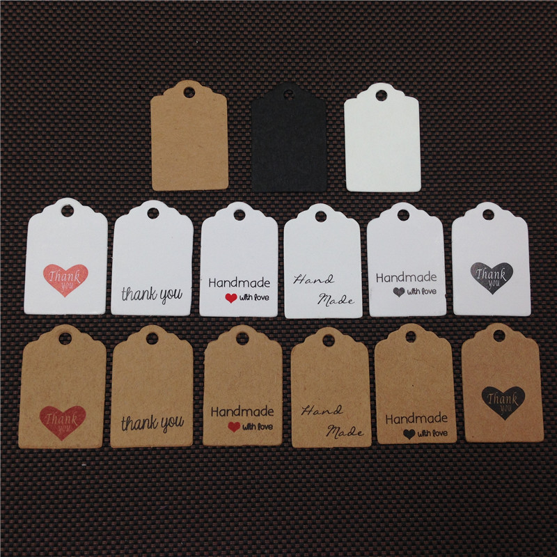 100 Pcs 3x2cm Cute Scallop Head Mini Hand Made With Love Kraft Paper Tags Thank You Labels  Label Gift Tag Price Tags