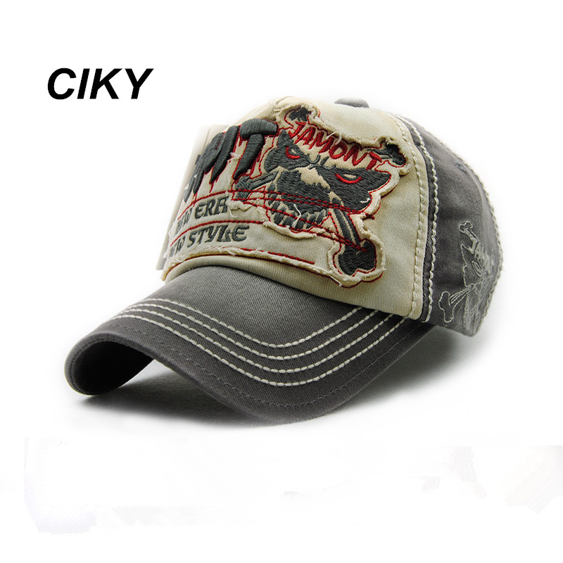 High quality Baseball Cap New Fashion Cotton Skull Head Men Hat Gorras Jeans Snapback cap Sport Outdoor Sun Hat B-202 high quality plain dyed sand washed 100% soft cotton cap sport hat gorras snapback cap outdoor sun hat for women caps