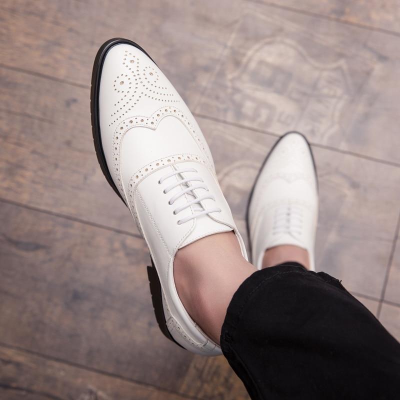 Homens marrom 38 2019 branco Leath Brogue Rendas Genuíno Sapatos Derby Casuais Homem Preto 44 Até Moda Preto Mens Oxford PUgPr4T