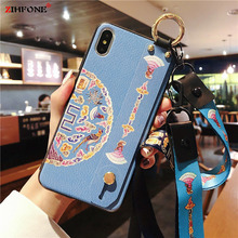 Luxury Vintage Court Phone Case For Xiaomi Mi 8 9 case Wristband Holder Leather Back Cover Lanyard for SE Lite