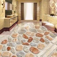Custom 3D Floor Tiles Pebbles Photo Wallpaper Waterproof PVC Self Adhesive Vinyl Living Room Bedroom Bathroom