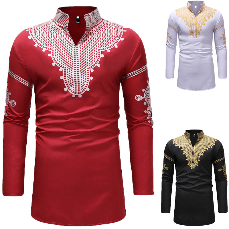 3 Colors African Men Dashiki Red Black Long Pullover Slim Shirt Printed Slit Neck High Collar Tunic Shirt For Men Plus Size