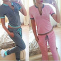 Fatos de treino 2 Peça Set Mulheres Suit Sporting 2017 Ocasional Das Senhoras Roupas de marca Sportwear T-Shirt Curto T Tops + Calças ternos