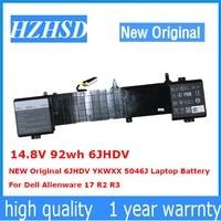 14.8 V 92wh 6 JHDV YENI Orijinal 6 JHDV YKWXX 5046J Laptop Pil Için Dell Alienware 17 R2 R3