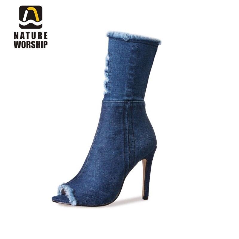 Peep toe talons hauts sandales denim chaussures pour dames été automne peep toe sur le genou bottes sandales gladiateur sandales bottes