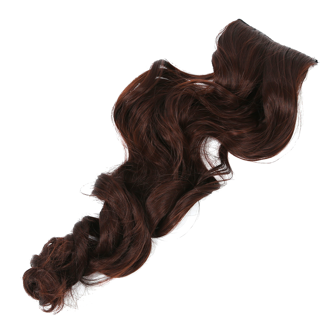 Hot Sale Width 25cm Lady Sexy Long Curl Wavy Clip-on Hair Extension Dark Brown