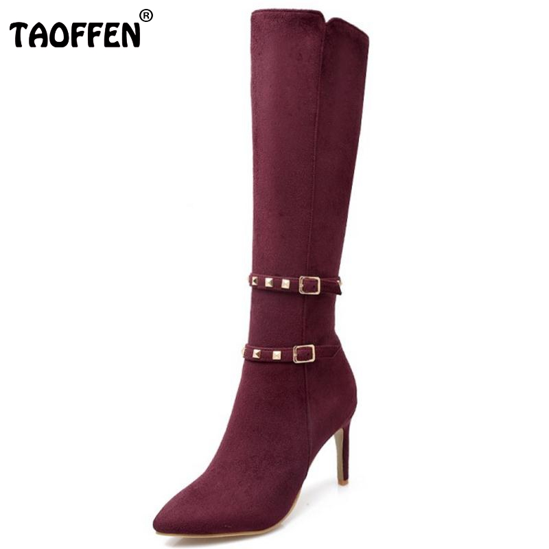 Women Sexy Pointed Toe Thin High Heel Knee Boots Woman Fashion Buckle Wrap Rivets Heeled Footwear Shoes Size 31-43 hot fashion spring over the knee boots sweet buckle denim women boots sexy pointed toe thin high heels shoes woman zapatos mujer