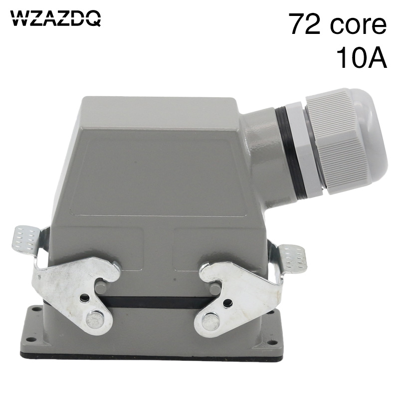 цена на Heavy duty connector 72-core rectangular cold-pressed hdc-hdd-072 aviation plug socket industrial waterproof plug 10A