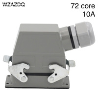 Heavy duty connector 72-core rectangular cold-pressed hdc-hdd-072 aviation plug socket industrial waterproof plug 10A