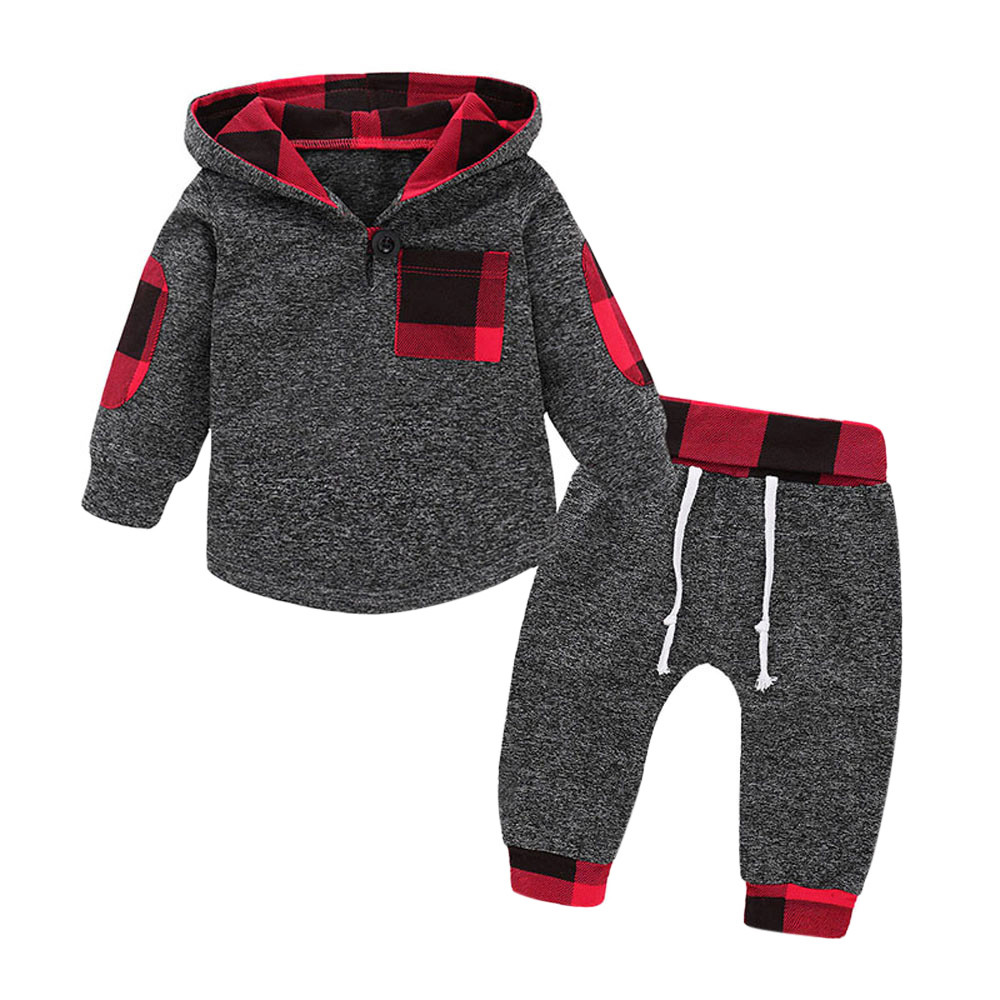 Spring Autumn Fashion Baby Girl  Boy Hoodies Toddler Plaid Hooded Tops Long Pants Outfits Set Newborn Kids Set 2pcs #is