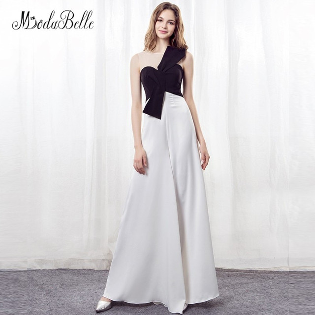 b0d93ffca2 modabelle Elegant Women Evening Dress Black White Chiffon Long Pant Suits  Bride Evening Gown Formal Occasion Dress 2018