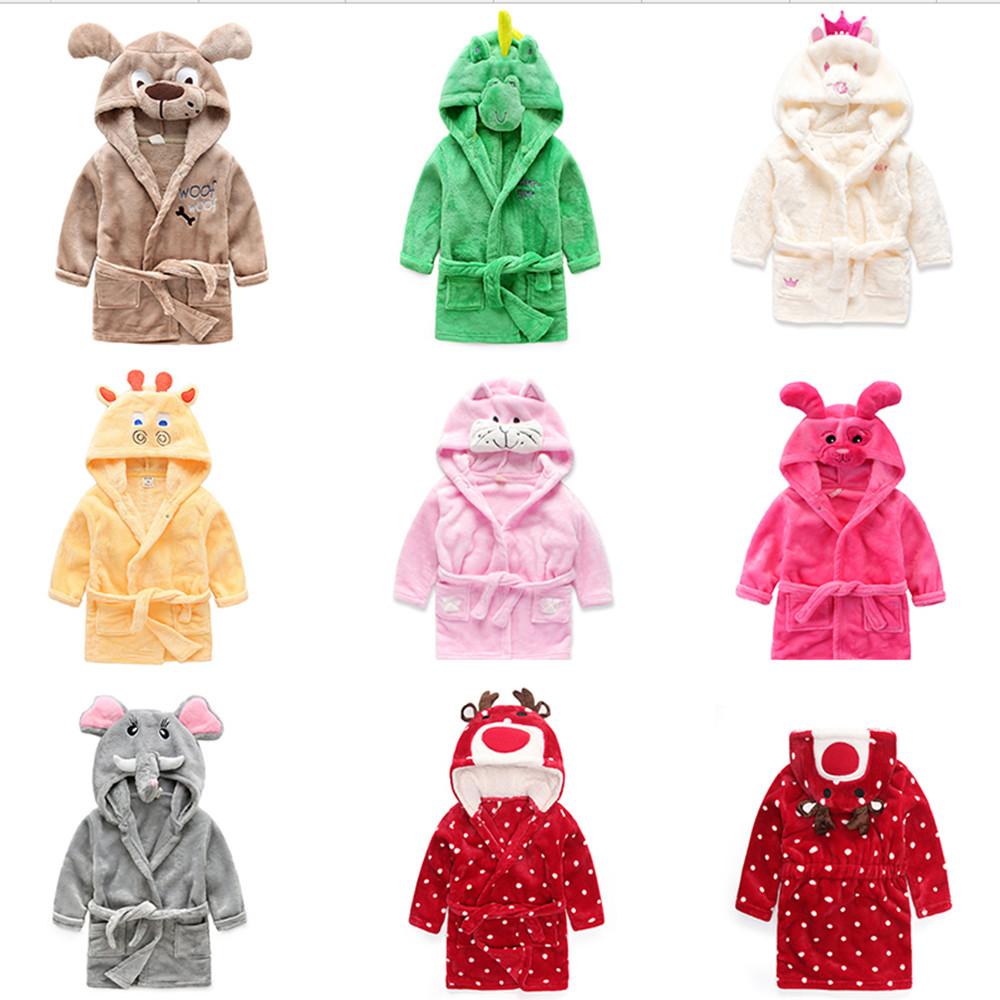 Berymond Children's Bathrobes Baby Robe Hooded Flannel Pajamas Dress Bathrobes Kids Soft Bath Robes Poncho Towel Clothing