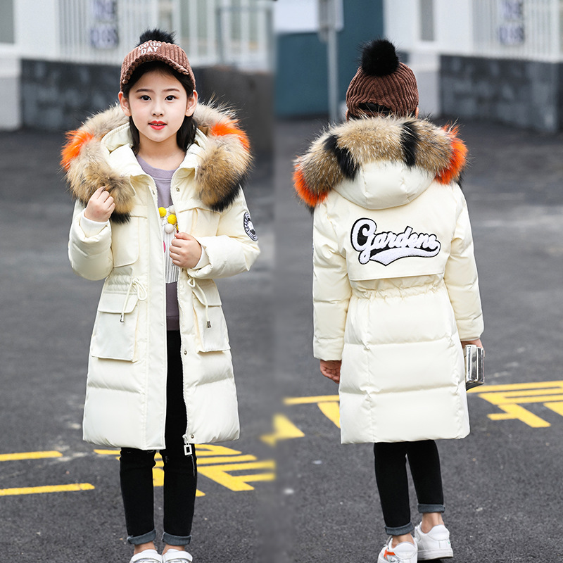 Girls Cold Winter Snow Wear Long Thickened Warm Down Parkas Children Big Fur Collar Down Jackets Kids Hooded Printing Down Coats цена