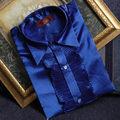Por Encargo azul rojo Mens Wedding Prom Novio Camisas Hombre Camisa Del Partido Del Vestido Del Funcionamiento Del Desgaste Del Novio camisa masculina