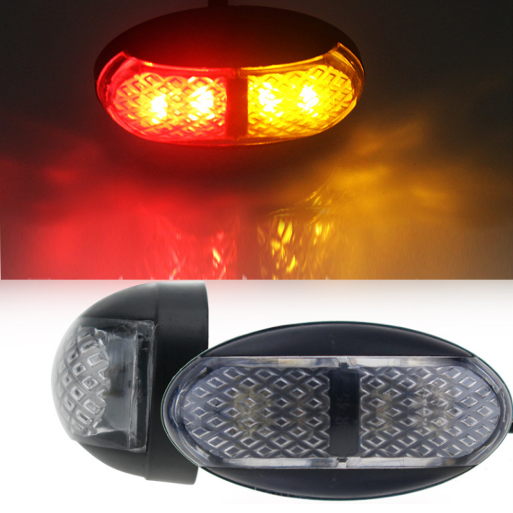 5 Pair Waterproof 4 LED Bus Van Boat Truck Trailer Lorries Side Marker Tail Light Lamp 12V 24V Red/Amber