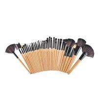32 Pcs De Madeira Pincéis de Maquiagem Profissional Cosméticos Maquiagem Escova Conjunto de Roll Up Caso Delineador