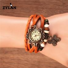ZYLAN Vintage Mulheres Pingente de Borboleta Do Vintage Relógios de Quartzo Banda Malha Ladies Pulseira relógio de Pulso Feminino Pulseira de Couro Relógio