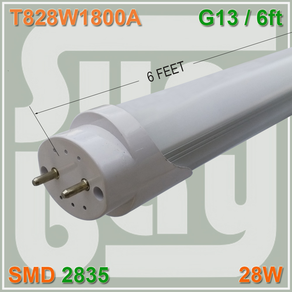 Free Shipping T8 LED Tube Bulb 6FT 28W G13 BI Pin Eergy Save For Existing Fluorescent Fixture