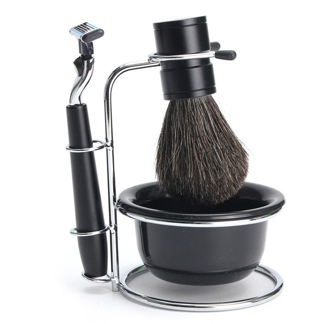 New 4pcs Men's Shaving Tool Gift Set Kit with Badger Bristle Shaving Brush Safety Razor Steel Stand Bowl