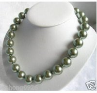 Free shipping 12MM green south sea shell pearl necklace 18