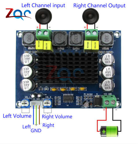 TPA3116D2 Dual-channel Stereo High Power Digital Audio Power Amplifier Board 2*120W 12V-24V