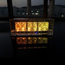 أحدث 6 بت LED الوهج ساعة رقمية Nixie أنبوب ساعة كيت DIY الإلكترونية الرجعية ساعة مكتب 5 V المصغّر usb بالطاقة