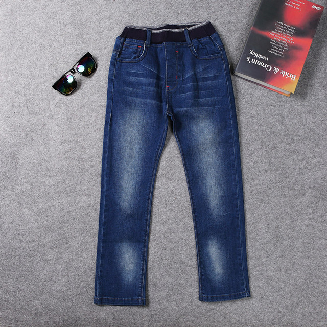Boys Jeans Casual Children Casual Denim Pants Solid Blue Trousers 2017 Fashion Boy Clothing for 10 Years Old AKP165020