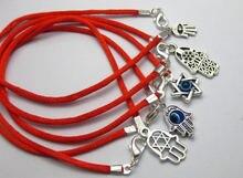 10 разноцветных браслетов kabbalah с красной ниткой