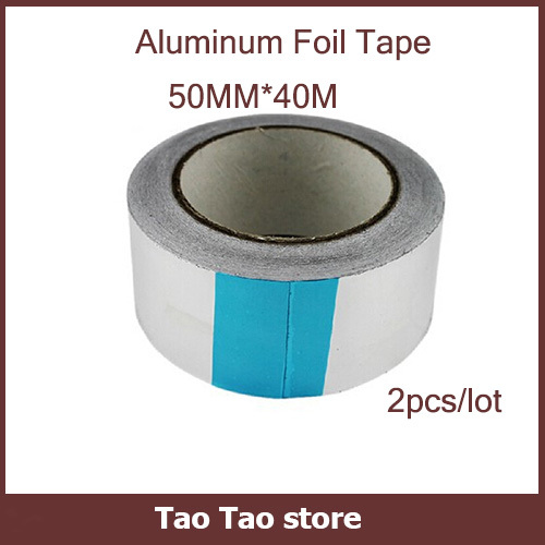 Aluminum Adhesive Tape 2pcs/lot Free Shipping Hottest Size 50mm*40m*0.06 Aluminum Foil Tape High Temperature Slivery Tape