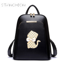 Backpack Faux Leather Women Daily Solid Zipper School bags Hard Handle Vintage Backpacks For Teenage Travel Bags Package