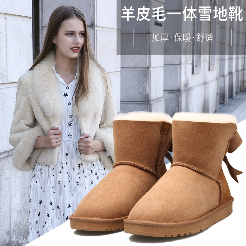 Novel unique single ribbon bow decoration women snow boots Sheepskin with wool warm breathable wearable winter women's shoes