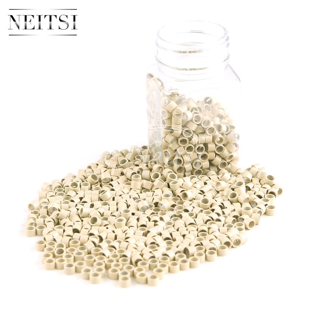 Neisti Micro Ring Beads Hair Extension Tools Tubes Without Silicone For Feather Hair Extensions Blonde