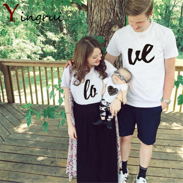 New Fashion Summer Simple Print Love Couple T Shirts Lovers Tops