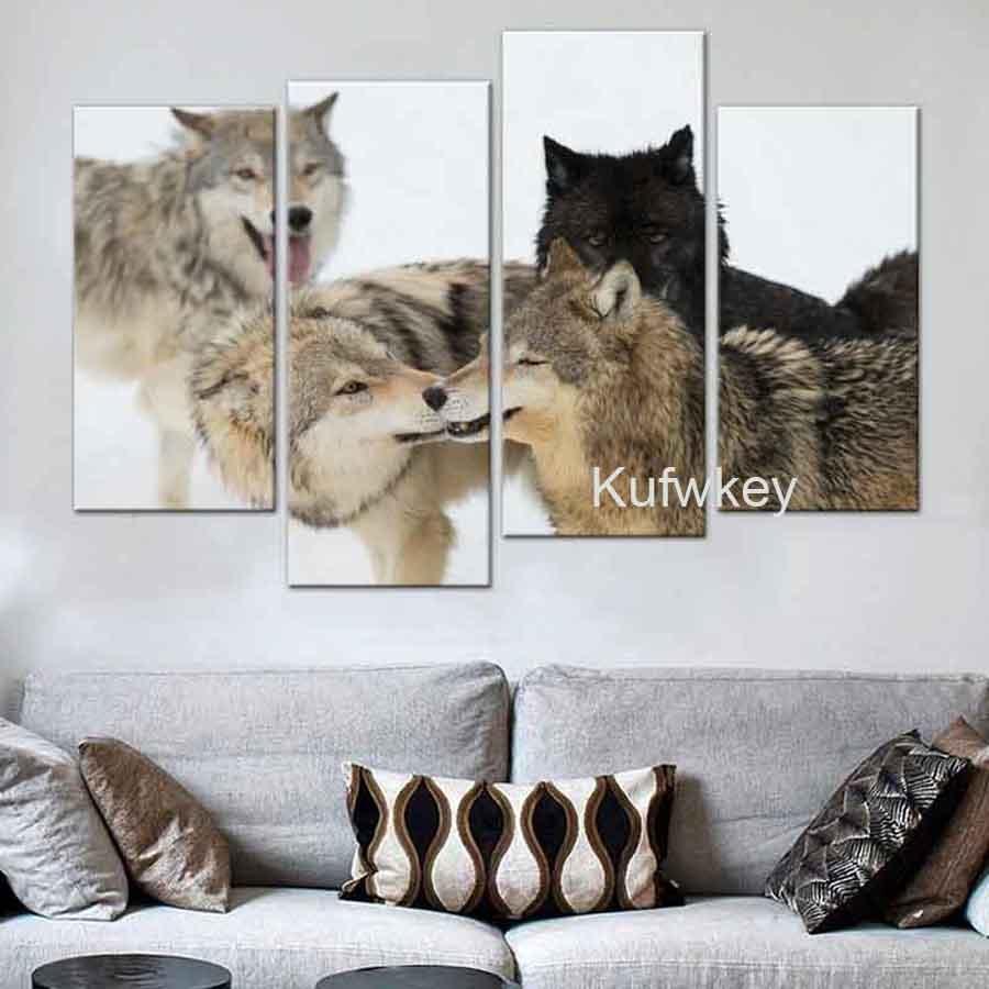 4pcs Snow wolf 5D DIY Diamond Painting winter Full round Diamond Embroidery,Stitch Cross,Mosaic,stickers,mazayka,home decor