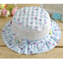 Summer Hat Plaid Bucket Hats Floral Bonnet Girls Cotton Cap Sun Beach Beanie Vacation Caps For