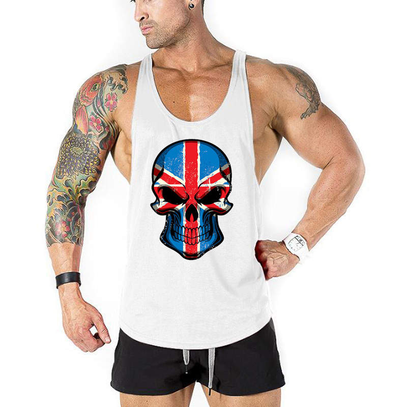 Skull Bodybuilding Stringer   Tank     Tops   workout Stringer Shirt Fitness   Tank     Top   Men clothing Cotton Vest