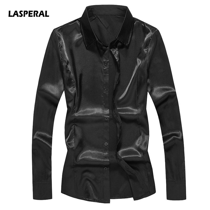 LASPERAL Silk Shirt Men 2018 Satin Smooth Men Solid Tuxedo Business Chemise Homme Casual Slim Fit Shiny Gold Wedding Dress Shirt